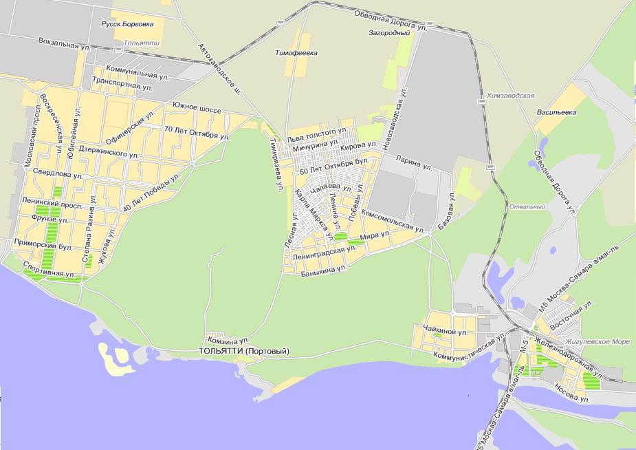 Общая карта города Тольятти